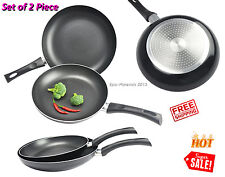 2 Piece Non Stick Fry Pan Aluminium Cookware Set Broil Cooking Kitchen PFOA Free