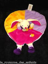 Doudou plat rond Lapin Babynat' Baby Nat' orange jaune rose mauve parme violet