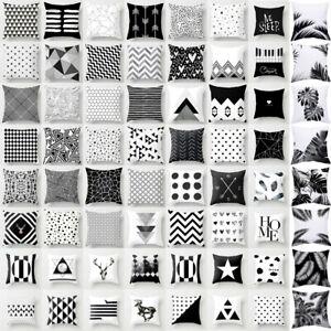 200+Black & White Geometric Throw Cover Pillow Cushion Square Case Decor 18''