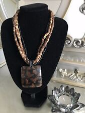 Brand New Brown Black Multi Strand Chunky Beaded Pendant Necklace By Principles