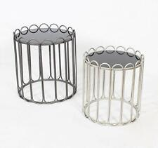 [2 Piece Set] Metal Frame with Black Glass Side END Table