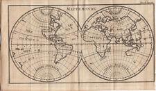 Weltkarte Mappe-monde 2 Hemisphären Orig. Kupferstich 1739