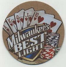 Milwaukee's Best Light BEER COASTER - Royal Flush Texas Holdem Poker