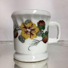 Vintage Shaving/mustache Mug Hand Painted Flowers No Marking