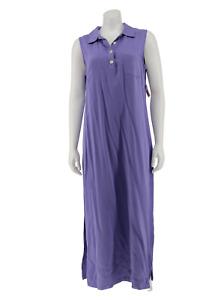 NWT Talbots Purple Rayon Sleeveless Maxi Shirt Dress Size 12