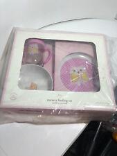 Pottery Barn Baby Nursery Feeding Set OWL Pink White Plate Bowl Cup, new, BPA FR