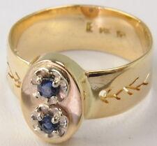 14k Yellow Gold Vintage Antique Sapphire Two 2 Stone Unique Cutout Estate Ring