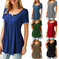 Women Tunic Tops V Neck Short Sleeve Solid Casual Buttons Shirt Blouse Plus Size