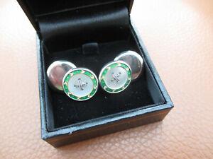Art Deco Emerald Green Enamel Mother of Pearl Silver & Rose Gold Back Cufflinks