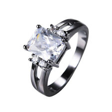 Women's white Sapphire Crystal Engagement Ring 10KT Black Gold Filled Size 7