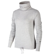 Nike Womens Yoga Funnel Neck DriFit Long Sleeve Running Top Grey Size Large