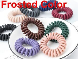 10 Frost Color Spiral Coil Elastic Hair Scrunchies Telephone Cord 40mm Ponytail