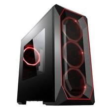 Game Max Kamikaze Mesh Micro Tower ATX Gaming PC Case 3x Red LED Ring Fan mATX