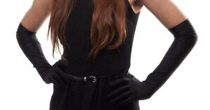 4-Way Stretch Matte Finish Satin Dress Gloves Over the Elbow Length Black