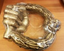 Brass Door Handle Knocker LION HEAD BIG HAND Figurine Pull VintageHome Decor