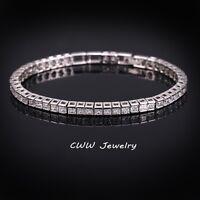 Womens 14K White Gold Finish 3 CT Princess Cut Diamond Tennis Bracelet 7 Inches