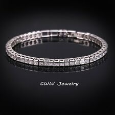 Womens 14K White Gold Finish 3 CT Princess Cut Diamond Tennis Bracelet 7 Inches