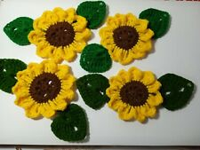 New listing 12pcs.Hand crochet sunflowerwith 2tone leafs Appliques sewing craft Diy project