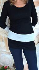 Maglia donna, nera con fascia bianca, lanetta, taglia 44/46