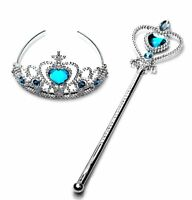 Frozen Princess Queen Anna Elsa Wand+ Tiara Crown Dressing up Girl 2 Pieces Set