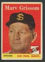 1958 Topps #399 Marv Grissom VG/VGEX Giants 24111