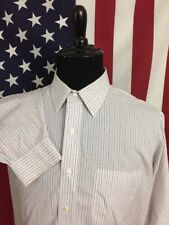 Brooks Brothers White Striped Dress Shirt men's 16.5  33 Non-Iron Office 7293