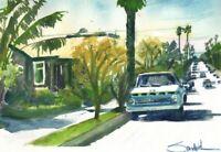 Poli Street Ventura : Signed LE Art Print  : Sandra Watercolors™ California