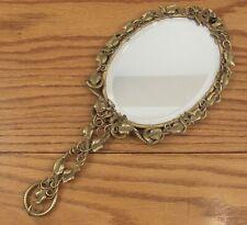 """Antique openwork brass hand mirror ornate birds/leaves 13"""""""