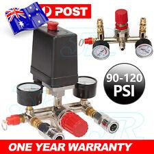 Air Compressor Pressure Switch Control Valve Manifold Regulator Gauges 90-120PSI