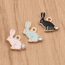 Cute Rhinestone Rabbit Drop Oil Animals DIY Necklace Jewelry Accessories Charms