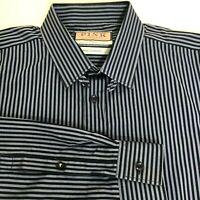 Thomas Pink London  Blue Striped Spread Collar Spear TAB Dress Shirt Size 16