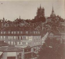 PHOTO ANCIENNE LAUSANNE VUE GÉNÉRALE LAC LEMAN SUISSE 12 X 9 cm vers 1900