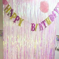 Iridescent Shimmer Foil Curtain Backdrop Wedding Party Birthday Wall Door