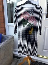 Atmosphere (primark) Black And Cream Striped Jersey Dress/tunic/top Size 12