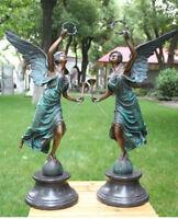 "25.2"" West Art Decorate Sculpture Annunciation Angel Girl Bronze Statue Pair"