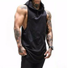 men bodybuilding tank top cotton Patchwork Mesh muscle Fitness sleeveless Hooded