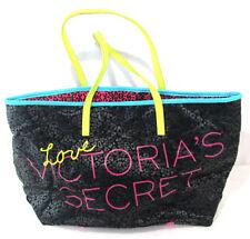"Victoria Secret LOVE Womens Purse Tote Bag Pink Yellow Black Teal 19""x11""x6"""