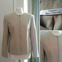 Vintage St Michael M&S UK 12 Zip Blazer Jacket Beige Natural Smart Collarless