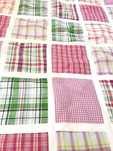 Nautica Madras Plaid Quilt Comforter Twin Cotton w Sham Throw Pillow Girls Pink