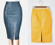 Women Leather Midi Skirt Winter Ladies Package Hip Front Back Slit Pencil Skirt