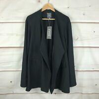 Lysse Lianna Plus Open-Front Long Sleeve Stretch Womens 3X Black Midi Jacket