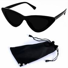 Cat Eye Sunglasses Black Frame Black Lens Shades with Pouch - BLACK/BLACK