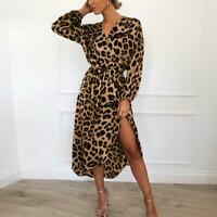 Leopard Dress Women Chiffon Long Beach Long Sleeve Deep V-neck Sexy Party Dress