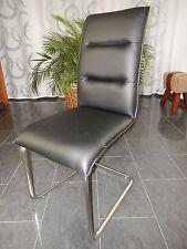 6 x Freischwinger Stuhl Kunst Leder Schwarz Neu Modern Ferderung Küche