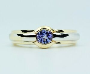 Le Vian 14k Yellow And White Gold Round Blueberry Tanzanite Solitaire Ring