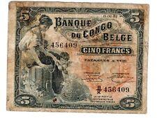 "CONGO BELGE "" BELGIAN BELGIQUE "" Billet 5 FRANCS 15/02/ 1952  P21 ELEPHANT RARE"