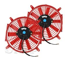 2X Universal Slim 14 Inch Push Pull Engine Bay Cooling Electric Radiator Fan Red