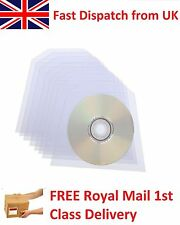 10x Clear 100 micron CD DVD Plastic Sleeves Storage Wallet Cover Case with Flap