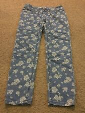 "Women's junior's size 5 SO brand denim floral jeans pants 30""W 27"" inseam short"