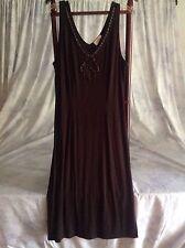 Women's TALBOTS Brown Beaded Sleeveless Maxi Dress Size M